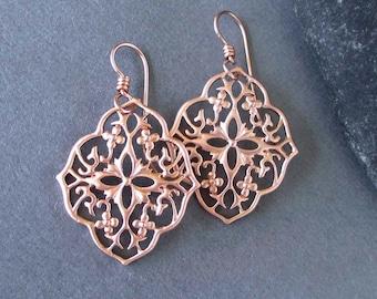 Pink Gold Filled Filigree Earrings Rose Gold Tone Dangle Earrings Metal Lace Earrings Handmade Jewelry