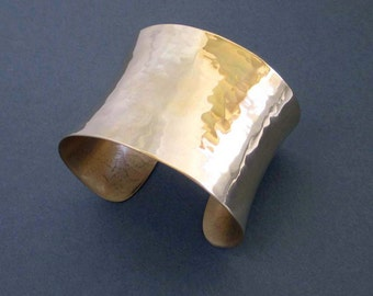 Shiny Gold Cuff Bracelet Artisan Handmade Modern Metal Jewelry Hammered Brass Cuff Bracelet Greek Jewelry Size Small or Medium