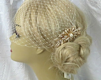 Wedding Bridal Birdcage Veil and  Golden Hair Comb Floral Hair Comb Wedding Comb, Bridal Hair Comb Gold Comb Gold Plated a headpieces