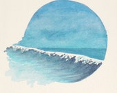 Original watercolour minature vignette painting ocean wave
