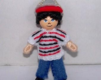 Tiny Pocket Bendy Doll, dollhouse doll, miniature doll, ooak doll, handmade doll, hand-painted doll, hand-sewn doll