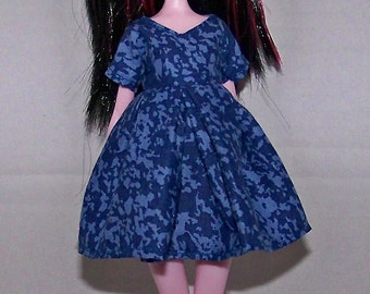 Handmade Monster High doll clothes - dark blue spackled with light blue dress