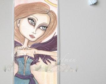 Fantasy Angel art bookmark, big eyes, big eyed beauty
