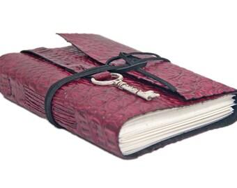 Burgundy Alligator Embossed Leather Journal - Leather Journal - Handmade - Blank Paper - Ready to Ship - Key - Bookmark - Travel Journal -