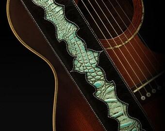 CLOSEOUT SALE Black Guitar Strap, Leather Guitar Strap:  Nightfall Navajo Guitar Strap