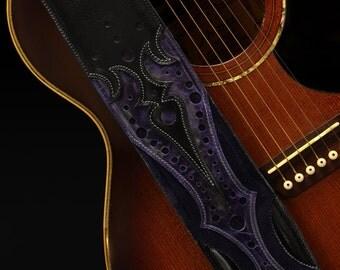 Custom Leather Guitar Strap, Leather Guitar Strap: Purple Rain Guitar Strap