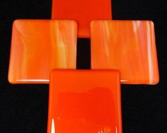 Fused Glass Coasters rich orange and streaky orange design combo - set of four