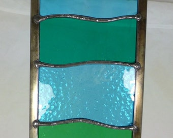Stained Glass Garden Ornament Architectural Panel Large in Ocean Wave Design Teal, Turquoise and Transparent MTO