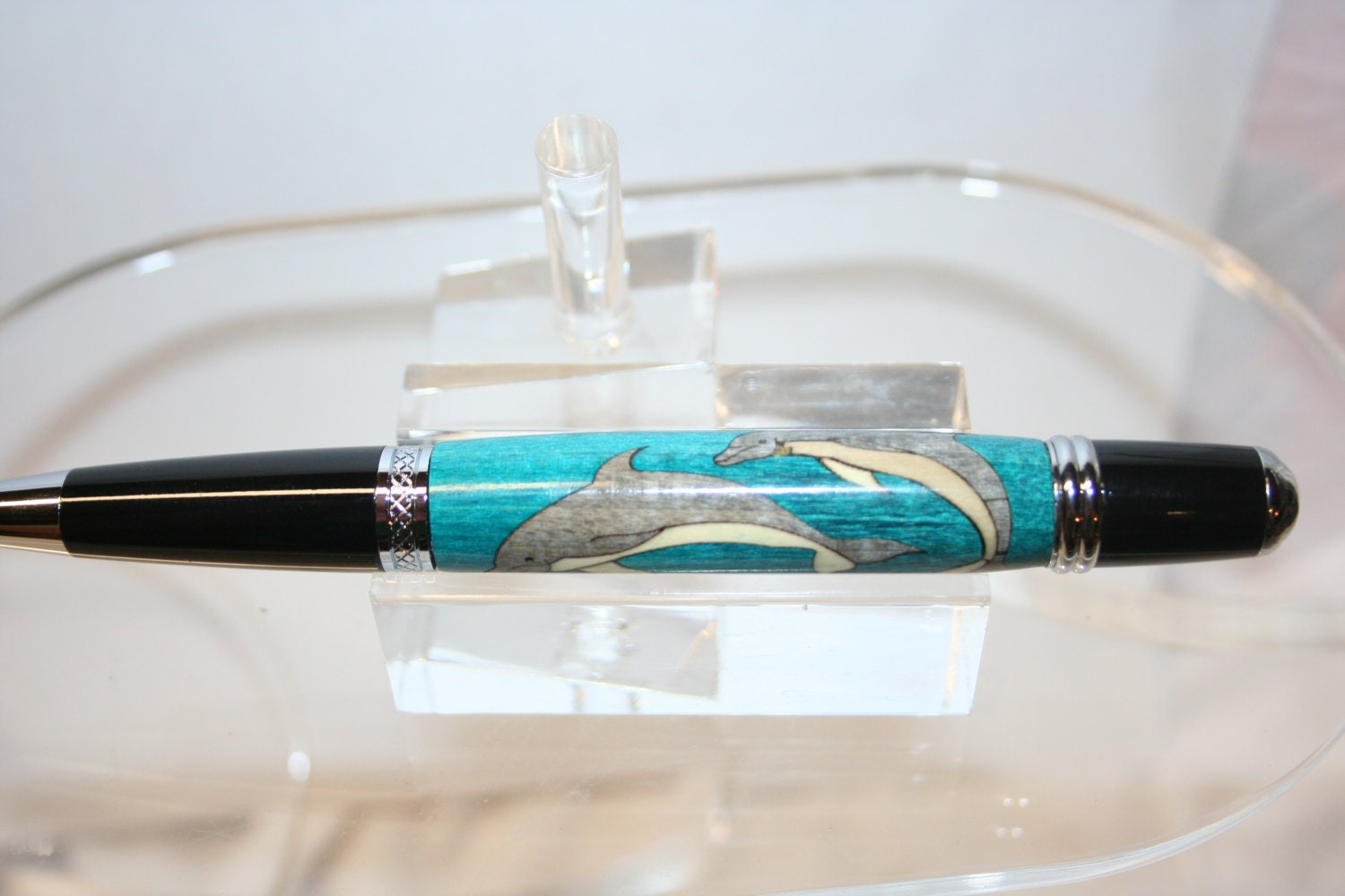 Dolphin Wood Inlays : Handcrafted wooden pen dolphin inlay twist in a bright