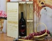 Personalized Wedding Ceremony Wine Box with 2 Custom Glasses
