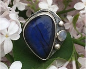 ON SALE Blue labradorite ring, silver ring, moonstone ring, multistone ring, statement ring
