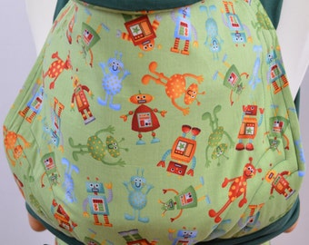 MEI TAI Baby Carrier / Sling  / Reversible / Robo-Party with Green in  straight cut model