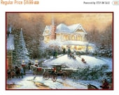 NOW on SALE A Christmas House Party... Victorian Christmas Counted Cross Stitch Chart / Pattern from Antique Card  Free Shipping