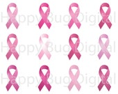 Pink Ribbons Breast Cancer Awareness Clip Art 20 Png Files Commercial Use OK - INSTANT DOWNLOAD