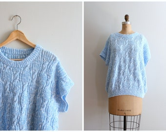 vintage 80s hand knit slouch sweater - short sleeve cable knit sweater / Baby Blue - soft pastel sweater / Sweet Kawaii - 80s Valley Girl