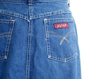 20% SALE 80s high waisted denim skirt - Zena jean skirt / Zena Denim - vintage 80s denim / soft denim pencil skirt - straight skirt