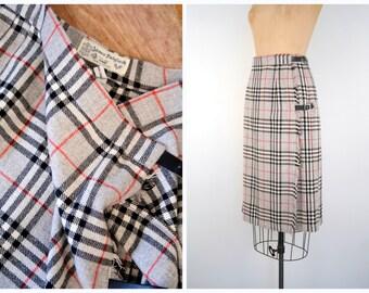 vintage ladies Scottish kilt - pleated skirt / James Dalgliesh - Scotland / gray plaid tartan