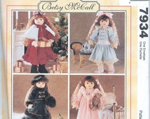 """McCall's Pattern 7934 18"""" American Girl Betsy McCall Doll Clothes Samantha UNCUT Goetz"""