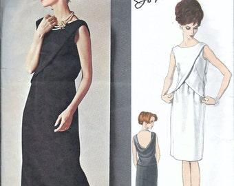 Vintage 1960s Vogue 1548 Couturier JO MATTLI of London Evening Dress Back Cowl Sewing Pattern Size 12 Bust 32