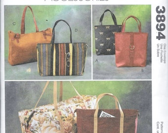 McCall's 3894 Fashion Accessories 6 Small and Large Tote Bags Sewing Pattern Travel Luggage