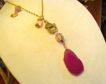 Dazzling Sliced Fuchsia/RUBY AGATE Natural Pendant w/24k Gold Plating on Gold Pyrite Necklace w/Carved Pink JADE, 24k Gold & Crystal Charms