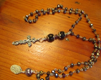 Czech AMETHYST & STERLING Silver Rosary Chain w/Sterling Embossed CROSS, Genuine Amethyst Large Rounds and Vintage Mary Medal Necklace