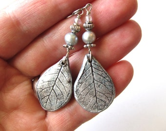 Earrings Smoke Bush Leaf with Freshwater Pearl, Pewter, Glass Bead on Sterling Silver Wire on Hypoallergenic Shepherd Hooks