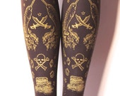 M Tall Pirate Printed Tights Narwhal Tattoos Medium Tall Gold on Brown Thick Winter Chocolate Classic Lolita Nautical Victoriana