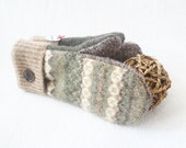 Felted Wool Mittens EARTH TONES Green Fair Isle with Brown Gloves Upcycled Sweater Mittens Fleece Lined Unisex Gift Under 50 by WormeWoole