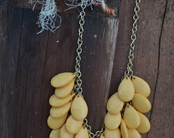 Yellow Necklace Chandelier Boho Indie Hippie Festival Necklace Big Jewelry