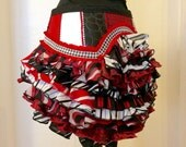 Upcycled Ruffle Bustle Black white red Burning Man Tutu Pixie Fairy goth Costume Steampunk Edwardian Victorian Eco Friendly Harlequin