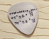 SALE Personalized Guitar Pick- Guitar Pick- Latitude Longitude Guitar- Men's Gifts-Anniversary Gift - Silver Guitar Picks - For Him Her