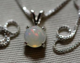"Multicolor 0.93 Carat Solid Opal Cabochon Pendant on 18"" Necklace"
