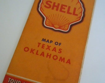 Texas Oklahoma Shell Map Vintage Road Trip Map Route 66