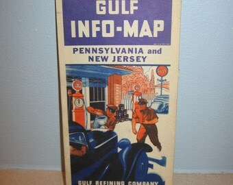 1934 Gulf Info Map Pennsylvania and New Jersey Gulf Refining Co Great Graphics