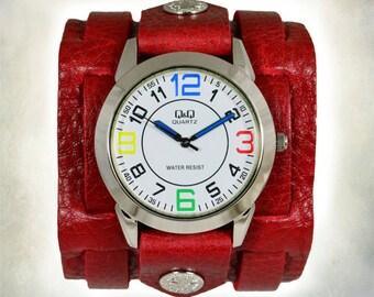 Women's Red Leather Cuff Watch