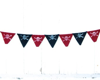 SALE - Pirate Skull and Crosssbones - Jolly Roger - Eco Friendly Fabric Bunting - Flag - Banner - Organic Home Decor - Boys Room