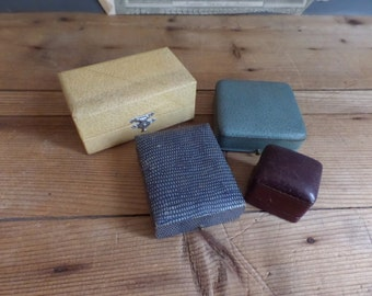 Set of 4 old French empty jewelry boxes PARIS  Old box for ring  French bijouterie