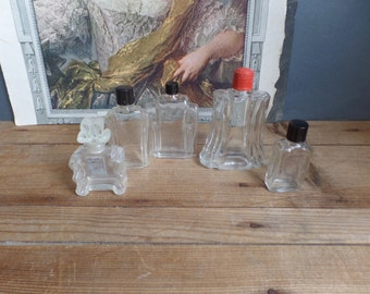 Old French glass small perfume BOTTLES Art déco period Instant collection of 5 bottles