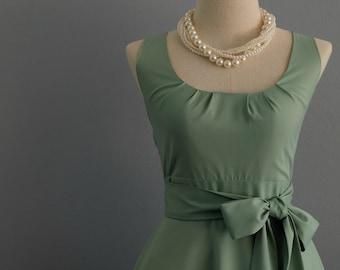 My Lady Sage Green Dress Spring Summer Dress Matcha Green Party Dress Sage Green Party Tea Dress Bridesmaid Dress Vintage Design Dress XS-XL
