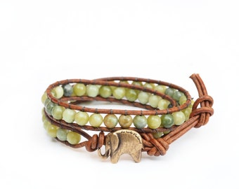the Lucky Elephant Button Leather Wrap Bracelet- Natural Stone, Jasper - the Lucky Elephant Exclusive