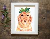 Golden retriever art print - golden print - dog art
