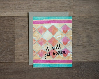Get well soon card - thinking of you - get better - sympathy card
