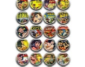 25 BUTTONS 1inch or 1.25 inch Circle Round Pin Back, Magnet, Flat Back, or Hollow Back. Heroine 1