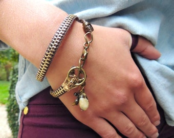 ZIPPER BRACELET With Natural Stones - brown and brass -  for teens and adults - adjustable - eco-friendly/upcycled jewelry - under 30.00