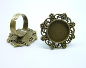 6pcs 15mm Antique Bronze Cameo Cabochon Filigree Base Setting Ring Blanks C8253