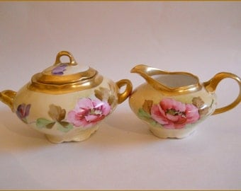 Antique Ginori Porcelain Hand Painted Creamer/Sugar Set Floral/Gold    August SALE