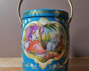 Victorian Theme Blue Vintage Biscuit Tin