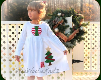 Christmas Tree Dress - Girls Holiday Dress YOU DESIGN Personalized