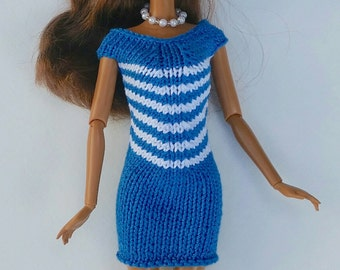 2-piece Barbie Outfit: Dress, Necklace. Royal Blue and White Dress.  Formfitting. Hand knit. Silkstone. Fashion Royalty, Liv. Model Muse.